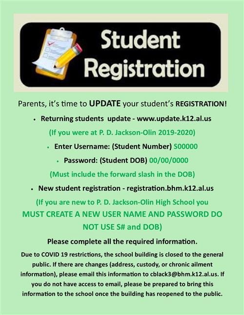 Returning Student Registration 2020-2021: Click the Link to begin registration