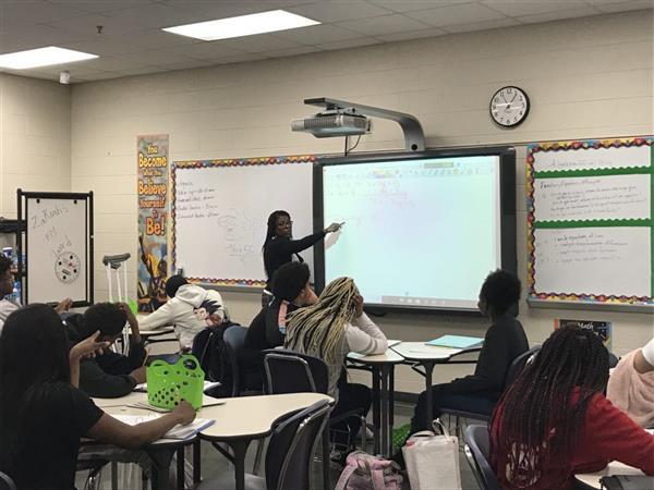 Parker High School Mathematics Teacher Dawonna Pitts during one of her classes. Parker was recently
