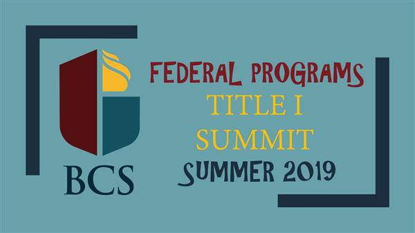Title I Summit Website Cover