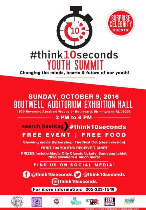 The Think 10 Seconds Youth Summit will be held Oct. 9 at Boutwell Auditorium