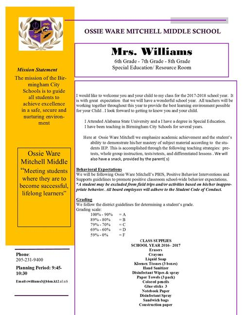 mrs charlette williams parent teacher letter