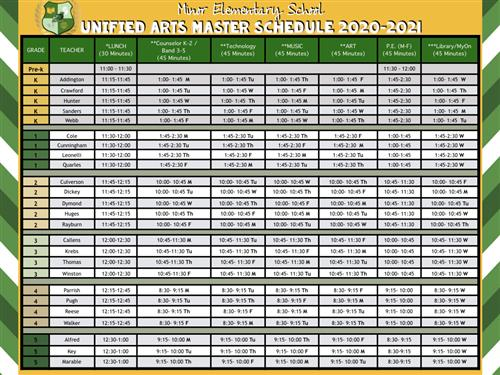 Unified Arts Schedule
