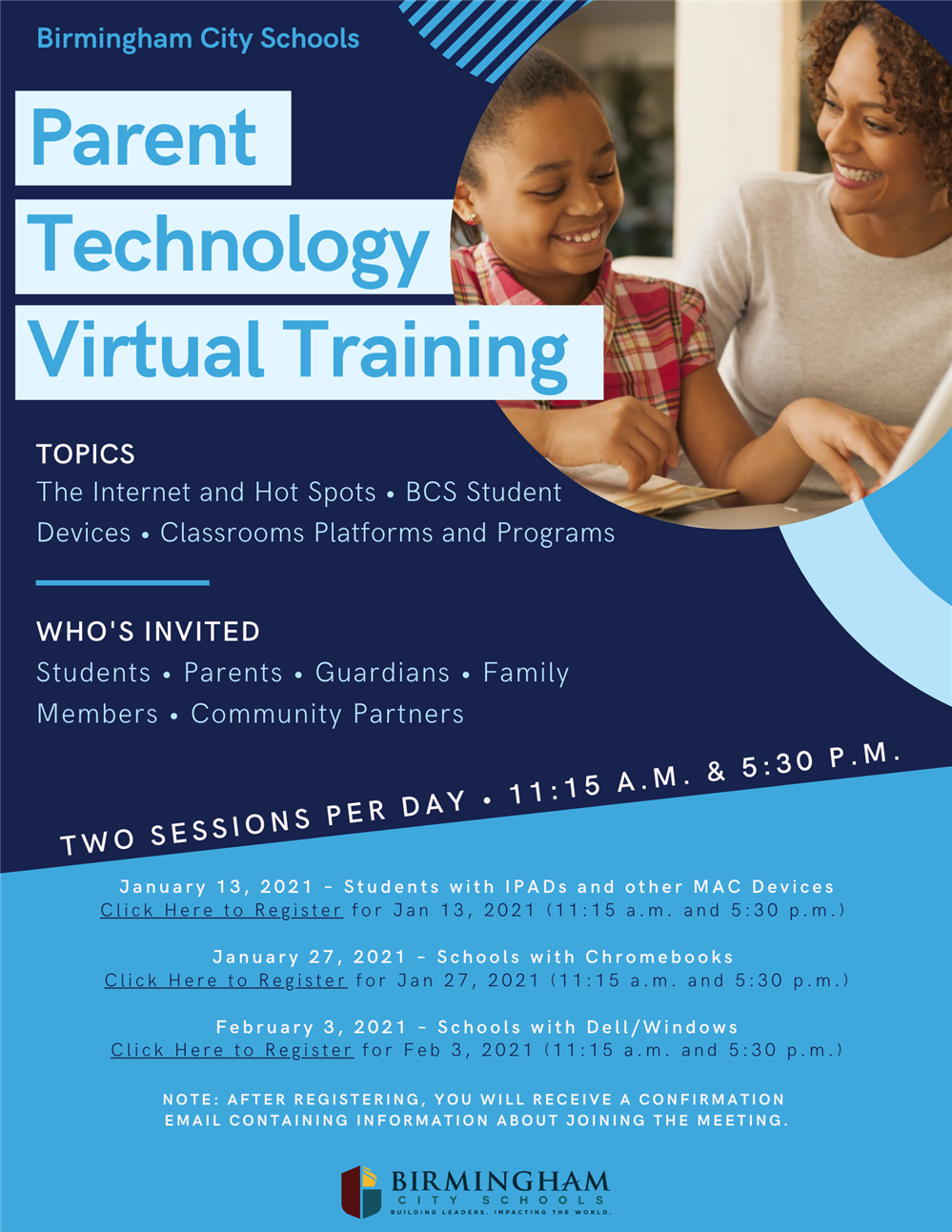 Parent Technology Virtual Training Flyer