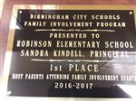 Robinson stands out winning 1st Place Most Parents Attending Family Involvement Events for 2016-2017
