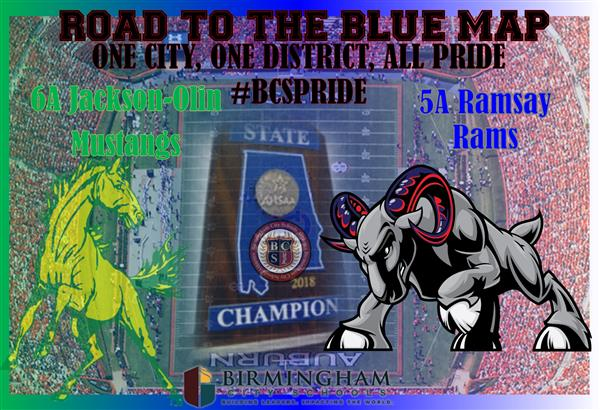 Congratulations to the Jackson Olin Mustangs and the Ramsay Rams!  AHSAA Championship Bound!