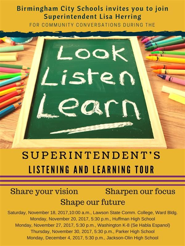 BIRMINGHAM CITY SCHOOLS SHARES RESULTS OF LISTENING AND LEARNING TOUR