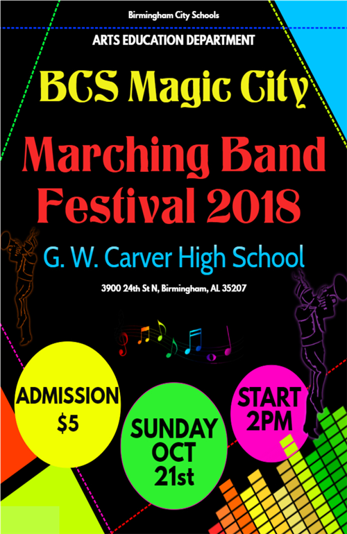 The Arts Education Department Announces the BCS Magic City Marching Band Festival 2018