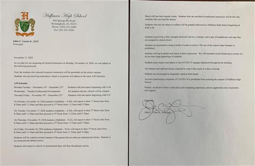 HHS Stakeholder Letter for In-Person Return - November 2020