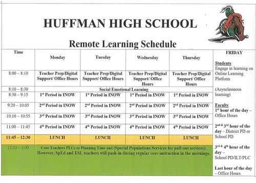 Remote Learning Bell Schedule 2020